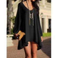 Stylish Women s V-Neck Long Sleeve Hollow Out Chiffon Dress (Stylish Women s V-Neck Long Sleeve Hollow Out Chiffon Dress) by http://www.irockbags.com/stylish-womens-vneck-long-sleeve-hollow-out-chiffon-dress