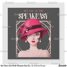 Art Deco 20s Pink Woman See You Speakeasy Magnet Speakeasy Party, 1920s Speakeasy, 1920s Theme, Magnetic Business Cards, See You, Party Themes, Party Ideas, Christmas Card Holders, Zazzle Invitations