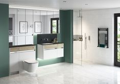Contemporary fitted bathroom furniture range from Utopia Bathrooms in Washed Oak with a chrome effect metallic handle strip. Fitted Bathroom Furniture, Diy Bathroom Vanity, Small Bathroom Vanities, Diy Bathroom Remodel, Bathrooms, Small Space Bathroom, Small Bathroom Storage, Home Still, Steam Showers Bathroom