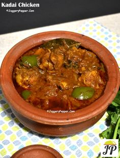 Kadai chicken recipe with step by step photos & video. The delicious & mouth watering restaurant style kadai chicken making in earthernware pot (mud pot). Veg Recipes, Curry Recipes, Indian Food Recipes, Vegetarian Recipes, Cooking Recipes, Ethnic Recipes, Delicious Restaurant, Restaurant Recipes, Chickrn Recipe
