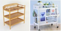 DIY Rolling Bar Cart DIY Ideas  I found the photo @ unplugged because they had a great idea of doing the same with a rolling mini office. I love the original idea as well but it works on many levels. A rolling craft centre for you and/or your children. A cooking centre complete books and and rarely used tools and appliances. Portable shelving is the bees knees no matter how you utilize it.