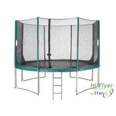 Studsmattor - Studsmatta Hi-Flyer Grön Med Skyddsnät & Stege