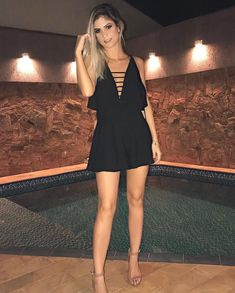 Swans Style is the top online fashion store for women. Shop sexy club dresses, jeans, shoes, bodysuits, skirts and more. Modern Outfits, Cute Outfits, Look Fashion, Womens Fashion, Moda Plus, Romper Dress, Cute Rompers, Online Fashion Stores, Black Romper