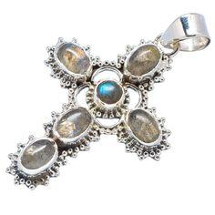 "Labradorite Cross 925 Sterling Silver Pendant 1 7/8"" PD543382"