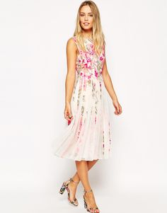ASOS Floral Mesh Insert Fit And Flare Midi Dress
