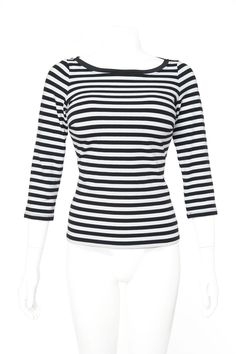 Boatneck Top in Black and White Stripe - Plus Size