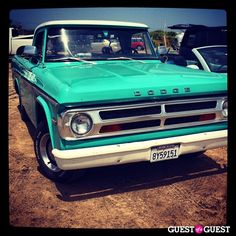 turquoise Dodge spent the Fourth of July sunning and funning at Ditch Plains in Montauk yesterday. Dodge Trucks, Pickup Trucks, My Dream Car, Dream Cars, Rat Rod Build, Green Motorcycle, They See Me Rollin, Future Trucks, S Car