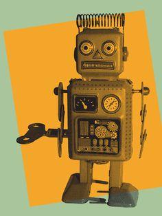 Retro robot Wall Mural | Eazywallz
