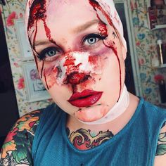 Surgery Gone Wrong - Halloween Look using from and in discoduck and black liquid liner from plastic surgery halloween makeup Halloween Makeup Looks, Halloween Make Up, Halloween 2018, Halloween Ideas, Halloween Party, Makeup Gone Wrong, Nose Makeup, Stage Beauty, Plastic Surgery Gone Wrong