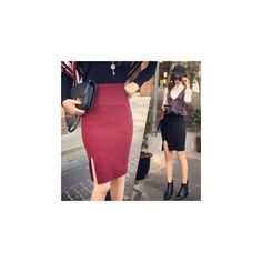 Slit Knit Midi Skirt (380.415 IDR) ❤ liked on Polyvore featuring skirts, women, red midi skirt, calf length skirts, mid-calf skirt, midi skirt and knit skirt