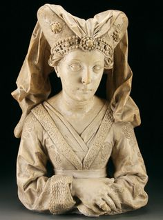 A good Victorian period cast of a Burgundian woman. After the original wood carving by Michel Erhard (1440-1552). Height 19.7 inches (50 cm).