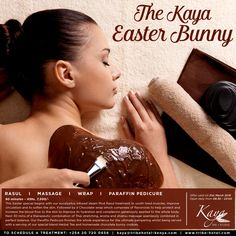 For some there's therapy. For us at #KayaSpa, there's #chocolate! Enjoy our chocolaty Easter special through out the month of March! For bookings: +254 20 720 0656 #KayaEasterBunny #rasul #massage #wrap #paraffinpedicure #pamper #spaday #easterspecial #easter