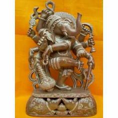 ALTER STATUES OF ganesha | Dancing Ganesha Ten Arms Carved Stone Ganesh Statue Altar Idol