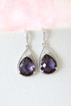 Bridal Earrings Bridesmaid Earrings Cubic Zirconia ear wires, Amethyst Purple Crystal Tear drops, Purple Bridesmaid jewelry, www.glitzandlove.com