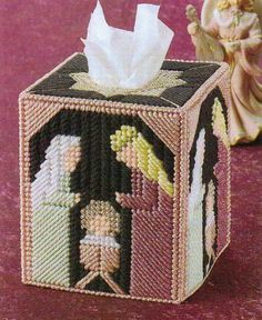 Silent Night Nativity Tissue Box Cover Plastic Canvas Pattern Instructions Only | eBay