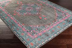 Milas Overdye Rug in Charcoal, Teal, Bright Pink, Aqua, Coral and Emerald