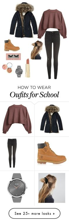 """""""Day in school"""" by jojos1009 on Polyvore featuring Tommy Hilfiger, Timberland, Hollister Co., BOSS Black, Axiology and ASOS #timberlandoutfits"""
