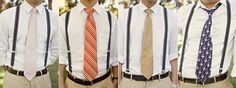 Broke Creative Bride: Mismatched Bridesmaids and Groomsmen {Cheap Wedding Attire} matching suspenders but not the ties. Casual Groomsmen, Groom And Groomsmen Style, Bridesmaids And Groomsmen, Mismatched Groomsmen, Groomsmen Outfits, Vintage Groomsmen, Groom Wear, Groom Attire, Groom Style