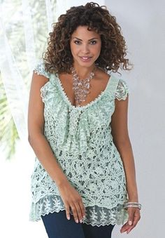 """Open work crochet tank over embroidered net with ruffles. Perfectly Romantic! Ramie/ cotton/polyester. Hand wash. Imported. By Denim 24/7®  Sleeveless  V-neck  Lace embellished at neckline and hem  Fully lined  About 30""""  green and the lavender  59.99"""