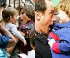 Mariska Hargitay with her son August and Christopher Meloni with his son Donte