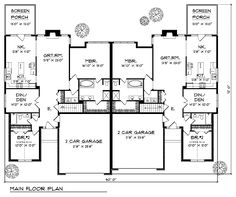 Multi-Family Plan 73470 - Traditional Style Multi-Family Plan with 3482 Sq Ft, 6 Bed, 4 Bath, 4 Car Garage Duplex Floor Plans, Shed Floor Plans, Garage Plans, Car Garage, Porch Plans, Shed With Loft, Run In Shed, Shed Plans 12x16, Free Shed Plans
