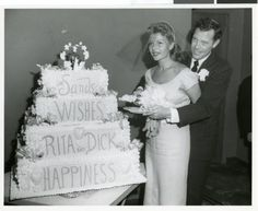 Entertainment, USA, September Actress Rita Hayworth marries her fourth husband Singer Dick Haymes at the Sands Hotel, Rita and Dick cut into a large wedding cake presented to them by the. Get premium, high resolution news photos at Getty Images Celebrity Wedding Photos, Celebrity Wedding Dresses, Wedding Pics, Celebrity Weddings, Wedding Couples, Wedding Day, Celebrity Couples, Wedding Stuff, Wedding Gowns