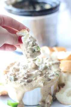 Philly Cheesesteak Dip ~ Super easy dip that tastes JUST like a Philly Cheesesteak sandwich!! Perfect for the Super Bowl!