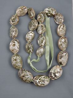 Vintage Haute Couture Graduated Hand Knotted Abalone Shell Bead Ribbon Necklace