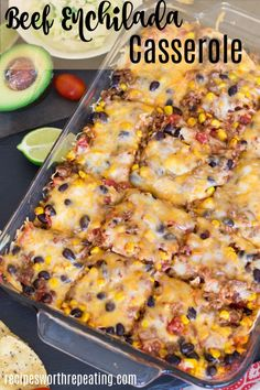 This Beef Enchilada Casserole Is Super Easy To Make And Deliciously Tasty. Youll Love The Mexican Flavors Of Creamy Refried Beans, Layered Beef, Corn Tortillas, And Melted Cheese Smothered In A Flavorful Enchilada Sauce And Baked To A Bubbly Perfection Sauce Enchilada, Enchilada Casserole Beef, Beef Casserole Recipes, Corn Tortilla Casserole, Easy Mexican Casserole, Burrito Casserole, Enchilada Recipes, Mexican Ground Beef Casserole, Enchilada Lasagna