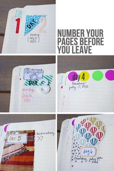 DIY Travel Journal » Micki Current, pre-date and number pages