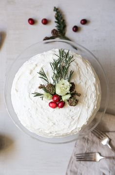 cranberry crepe cake recipe with simple rustic holiday topper