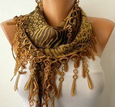 Leopard  Scarf   Cotton  Scarf   Cowl by fatwoman, $15.00