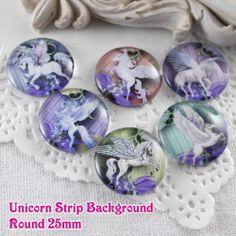 6x 25mm Glass Unicorn Strip Round Cameo Cabochon from Craft Findings by DaWanda.com