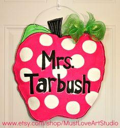 Teacher Apple Burlap Door Hanger Decoration HUGE - Polka Dots Back to School Hot Pink Lime Green. $35.00, via Etsy.