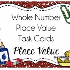 Place Value Task Cards {Whole Numbers} are DONE! With 5 different sets of 30 cards at just $2 (or the bundle for $8), these make great centers, review games, partner activities, walk-around games, bulletin board challenges, etc. Decimal set coming tomorrow {in a GORGEOUS watercolor theme!!} Link to blog in profile-click the button on there to go to my TpT store.
