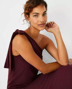 Bow One Shoulder Midi Dress | Ann Taylor Spanish Wedding, Short Sleeves, Long Sleeve, Ann Taylor, Bows, Clothes, Dresses, Shoulder, Women