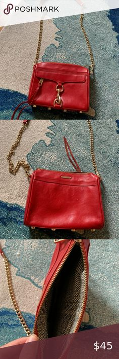 Rebecca Minkoff Red Mini MAC Bag Red leather with gold metal details. No rips or tears with the purse's interior silk lining. Only carried a handful of times, if that. Rebecca Minkoff Bags Crossbody Bags Rebecca Minkoff, Red Leather, Crossbody Bags, Mac, Times, Silk, Purses, Best Deals, Interior