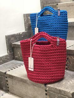 Crochet Tote Summer Bag Knitted Handbag RASPBERRY KISS colour