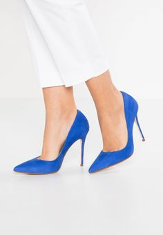 """Mai Piu Senza. High heels - blue. Pattern:plain. Sole:synthetics. heel height:4.0 """" (Size 4). Padding type:Cold padding. Shoe tip:pointed. Heel type:stiletto. Lining:imitation leather/ textile. shoe fastener:slip on. upper material..."""