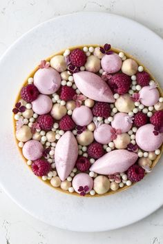 raspberry tart with frangipane and raspberry mousse.