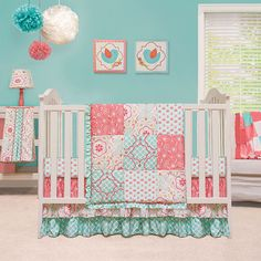 The Peanut Shell Mila 4 Piece Crib Bedding Set in Baby, Nursery Bedding, Nursery Bedding Sets Baby Girl Bedding Sets, Girl Nursery Bedding, Baby Nursery Bedding, Crib Sets, Crib Bedding Sets, Teal Nursery, Baby Bedroom, Nursery Room, Comforter Sets