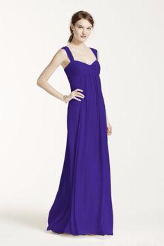 Bridesmaid dress! http://www.davidsbridal.com/Product_long-crinkle-chiffon-dress-with-twist-front-detail-f15633_bridesmaid-dresses-long-bridesmaid-dresses