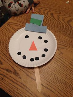Snow man paper plate mask