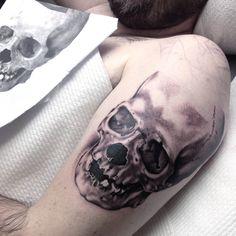 Skull Tattoo Black And Grey Tattoo Grey Wash Tattoo Realistic Portrait ...