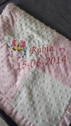 Check out this item in my Etsy shop https://www.etsy.com/listing/227092811/personalized-embroided-baby-blanket-with