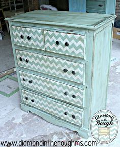 Chevron Furniture Stencil transforms this Mid-Century furniture by Drabs 2 Fabs in a snappy turquoise/white color combo. Refurbished Furniture, Repurposed Furniture, Furniture Makeover, Painted Furniture, Diy Furniture, Furniture Stencil, Dresser Makeovers, Furniture Plans, Furniture Projects