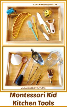 This week I am sharing a kid in the kitchen tip featuring Montessori kitchen tools.