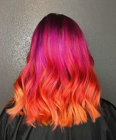 10 Most recommended Semi And Demi-Permanent Hair Color kits Vivid Hair Color, Cute Hair Colors, Pretty Hair Color, Bright Hair Colors, Hair Color Pink, Hair Dye Colors, Pink And Orange Hair, Orange Ombre Hair, Purple