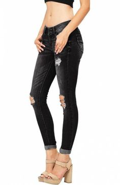 Lutratocro Women Denim Cutoff Joggers High Rise Belted Jeans Bodycon Skirts