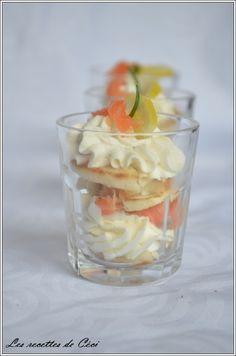Tiramisu au saumon fumé - pour 36 verrines 40 blinis 500g de mascarpone 2 blancs d oeufs 20cl de créme liquide jus de citron 250 g de saumon fumé sel poivre